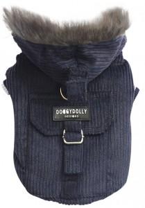 DoggyDolly Ciemnoniebieska kurtka ze sztruksu z kapturem dla małego psa różne rozmiary